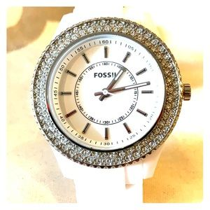Fossil watch White Crystal Bezel lightweight band